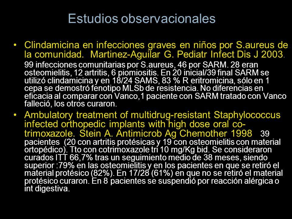 Estudios observacionales Clindamicina en infecciones graves en niños por S.aureus de la comunidad. Martinez-Aguilar G. Pediatr Infect Dis J 2003. 99 i