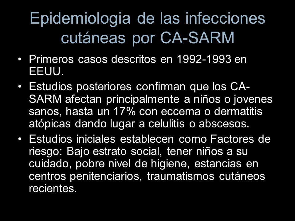 Epidemiologia de las infecciones cutáneas por CA-SARM Primeros casos descritos en 1992-1993 en EEUU. Estudios posteriores confirman que los CA- SARM a