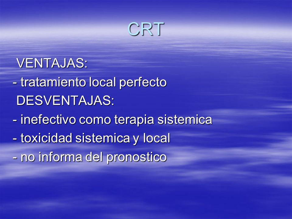 CRT VENTAJAS: VENTAJAS: - tratamiento local perfecto DESVENTAJAS: DESVENTAJAS: - inefectivo como terapia sistemica - toxicidad sistemica y local - no