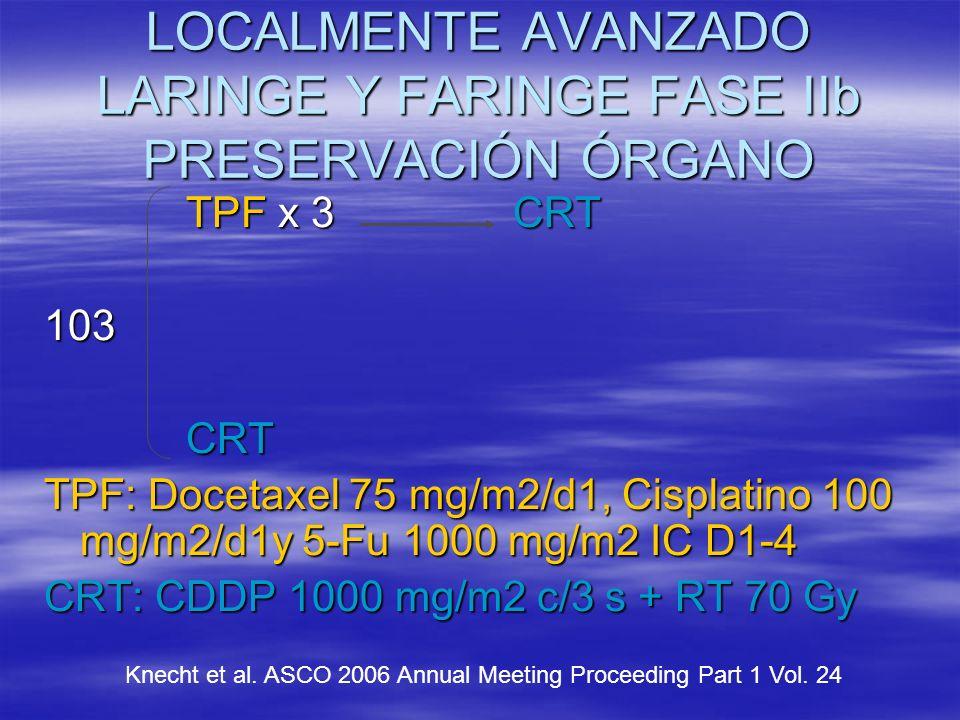LOCALMENTE AVANZADO LARINGE Y FARINGE FASE IIb PRESERVACIÓN ÓRGANO TPF x 3 CRT TPF x 3 CRT103 CRT CRT TPF: Docetaxel 75 mg/m2/d1, Cisplatino 100 mg/m2