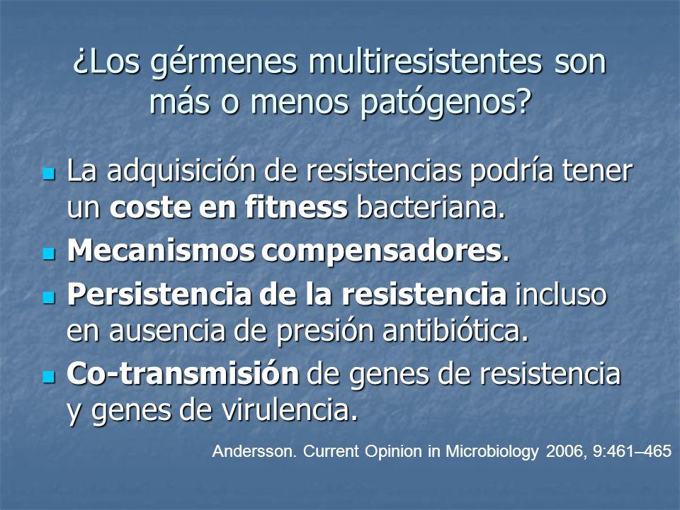 ¿Los gérmenes multiresistentes son más o menos patógenos? La adquisición de resistencias podría tener un coste en fitness bacteriana. La adquisición d