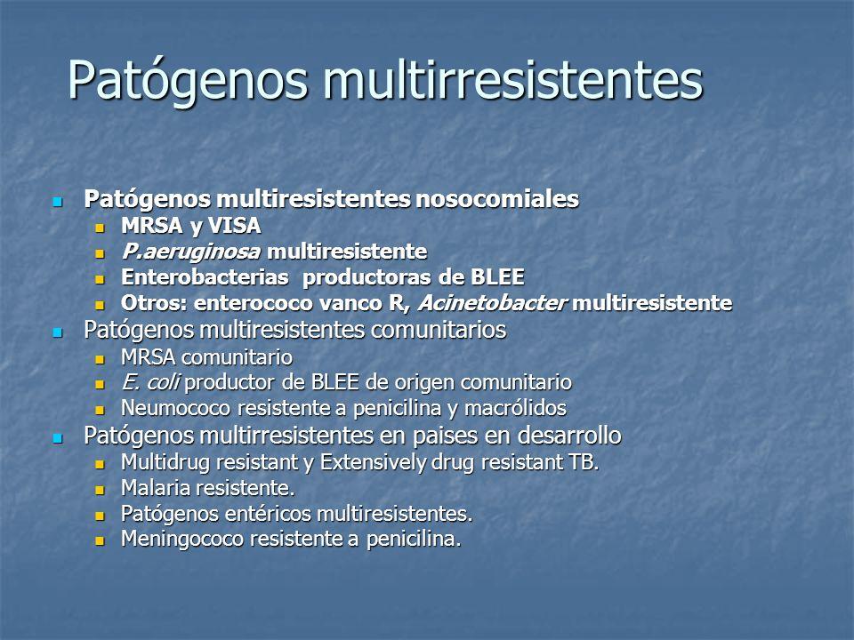 Patógenos multirresistentes Patógenos multiresistentes nosocomiales Patógenos multiresistentes nosocomiales MRSA y VISA MRSA y VISA P.aeruginosa multi