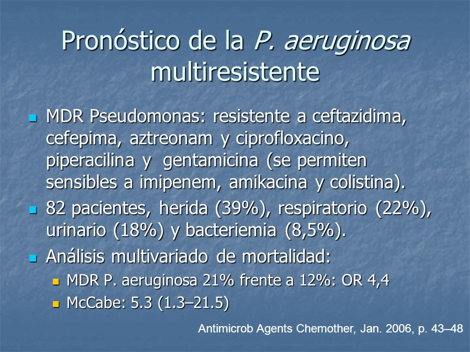 Pronóstico de la P. aeruginosa multiresistente MDR Pseudomonas: resistente a ceftazidima, cefepima, aztreonam y ciprofloxacino, piperacilina y gentami