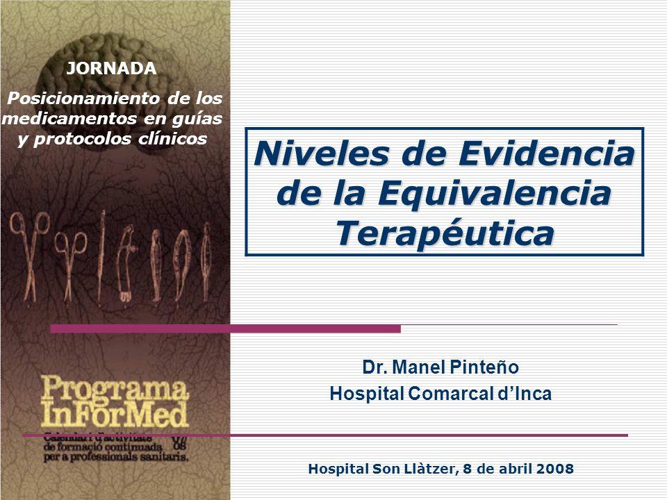 Dr. Manel Pinteño Hospital Comarcal dInca Hospital Son Llàtzer, 8 de abril 2008 Niveles de Evidencia de la Equivalencia Terapéutica JORNADA Posicionam