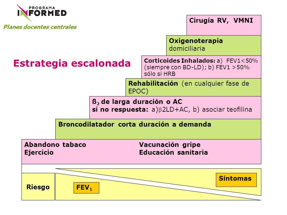 Abandono tabaco Vacunación gripe EjercicioEducación sanitaria Broncodilatador corta duración a demanda ß 2 de larga duración o AC si no respuesta: a)2