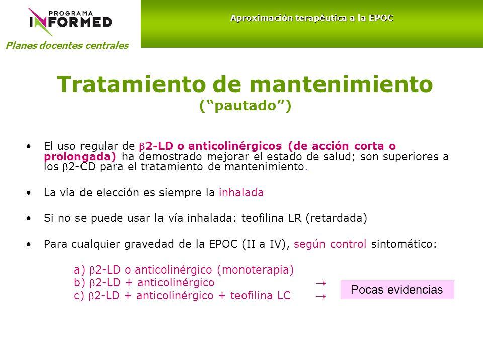 Tratamiento de mantenimiento (pautado) El uso regular de 2-LD o anticolinérgicos (de acción corta o prolongada) ha demostrado mejorar el estado de sal