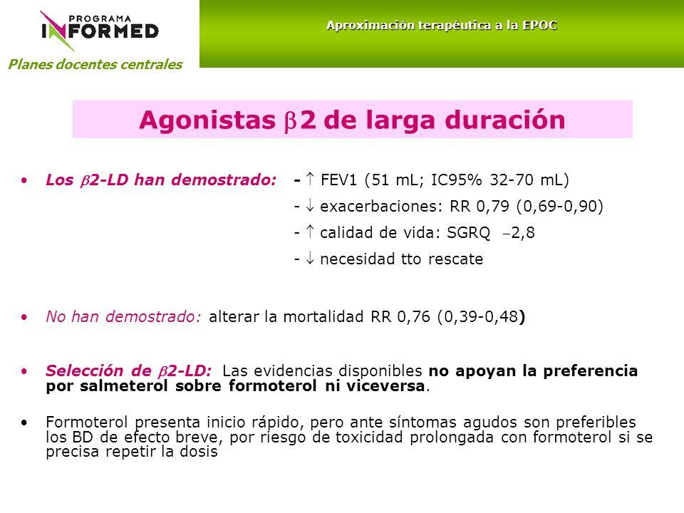 Agonistas 2 de larga duración Los 2-LD han demostrado:- FEV1 (51 mL; IC95% 32-70 mL) - exacerbaciones: RR 0,79 (0,69-0,90) - calidad de vida: SGRQ 2,8