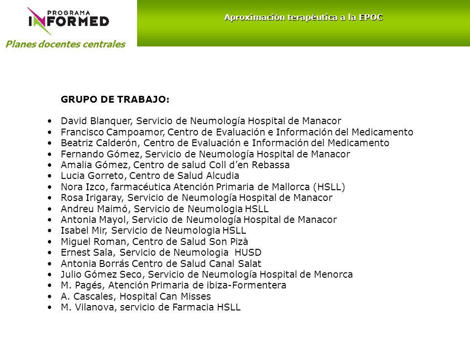 GRUPO DE TRABAJO: David Blanquer, Servicio de Neumología Hospital de Manacor Francisco Campoamor, Centro de Evaluación e Información del Medicamento B