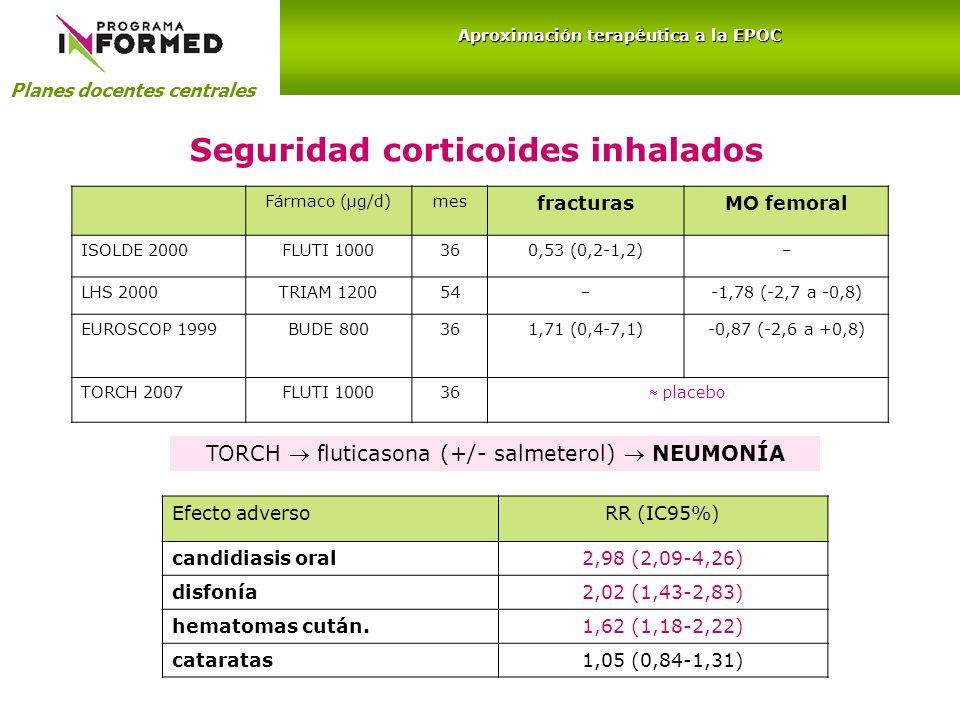 Seguridad corticoides inhalados Fármaco (µg/d)mes fracturasMO femoral ISOLDE 2000FLUTI 1000360,53 (0,2-1,2) LHS 2000TRIAM 120054 -1,78 (-2,7 a -0,8) E