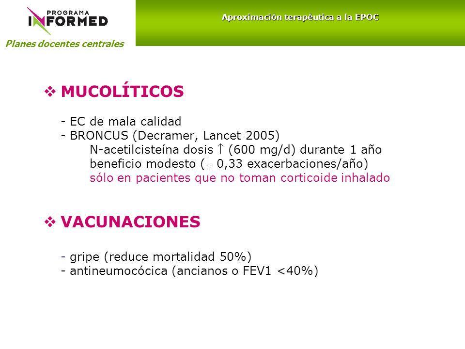 MUCOLÍTICOS - EC de mala calidad - BRONCUS (Decramer, Lancet 2005) N-acetilcisteína dosis (600 mg/d) durante 1 año beneficio modesto ( 0,33 exacerbaci