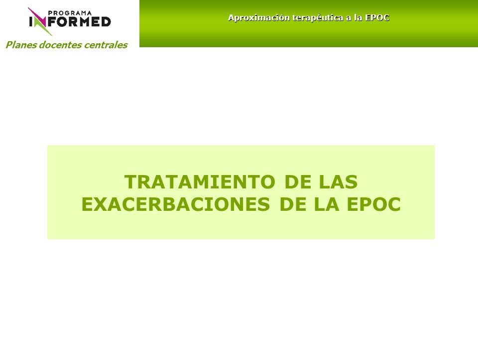 TRATAMIENTO DE LAS EXACERBACIONES DE LA EPOC Planes docentes centrales Aproximación terapéutica a la EPOC