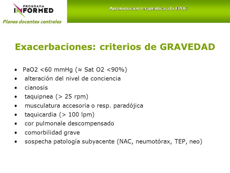 Exacerbaciones: criterios de GRAVEDAD PaO2 <60 mmHg ( Sat O2 <90%) alteración del nivel de conciencia cianosis taquipnea (> 25 rpm) musculatura acceso