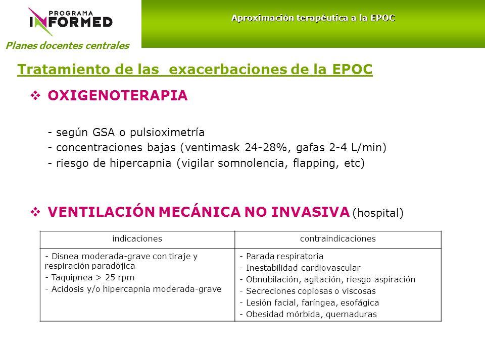 Tratamiento de las exacerbaciones de la EPOC OXIGENOTERAPIA - según GSA o pulsioximetría - concentraciones bajas (ventimask 24-28%, gafas 2-4 L/min) -