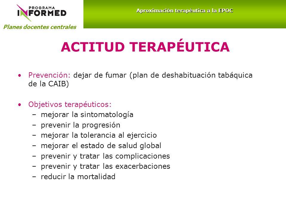 ACTITUD TERAPÉUTICA Prevención: dejar de fumar (plan de deshabituación tabáquica de la CAIB) Objetivos terapéuticos: –mejorar la sintomatología –preve