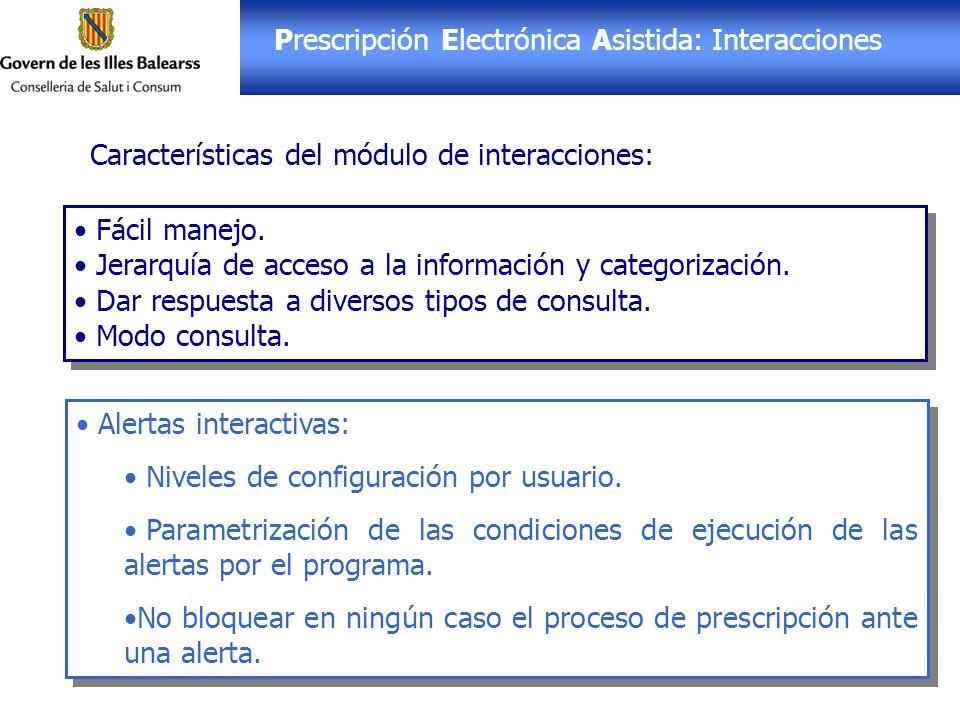 Prescripción Electrónica Asistida: Interacciones Fácil manejo. Jerarquía de acceso a la información y categorización. Dar respuesta a diversos tipos d