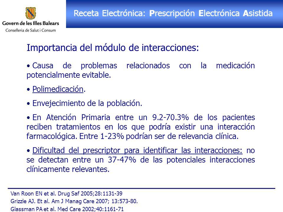 Receta Electrónica: PEA Receta Electrónica: Prescripción Electrónica Asistida Importancia del módulo de interacciones: Causa de problemas relacionados