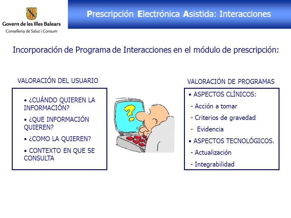 Receta Electrónica: PEA Incorporación de Programa de Interacciones en el módulo de prescripción: ASPECTOS CLÍNICOS: - Acción a tomar - Criterios de gr