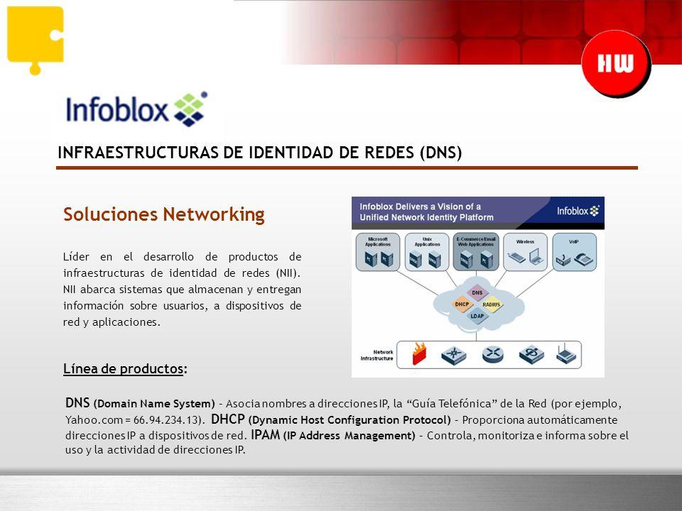 INFRAESTRUCTURAS DE IDENTIDAD DE REDES (DNS) Soluciones Networking Líder en el desarrollo de productos de infraestructuras de identidad de redes (NII).