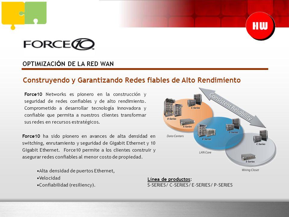 OPTIMIZACI Ó N DE LA RED WAN Construyendo y Garantizando Redes fiables de Alto Rendimiento Force10 Networks es pionero en la construcción y seguridad de redes confiables y de alto rendimiento.