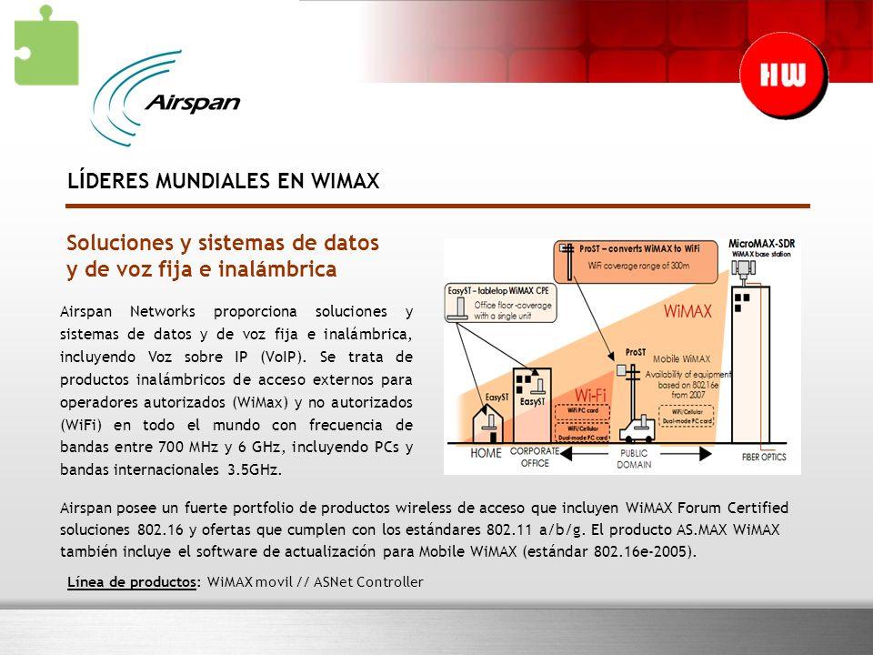 Soluciones y sistemas de datos y de voz fija e inalámbrica Airspan Networks proporciona soluciones y sistemas de datos y de voz fija e inalámbrica, incluyendo Voz sobre IP (VoIP).