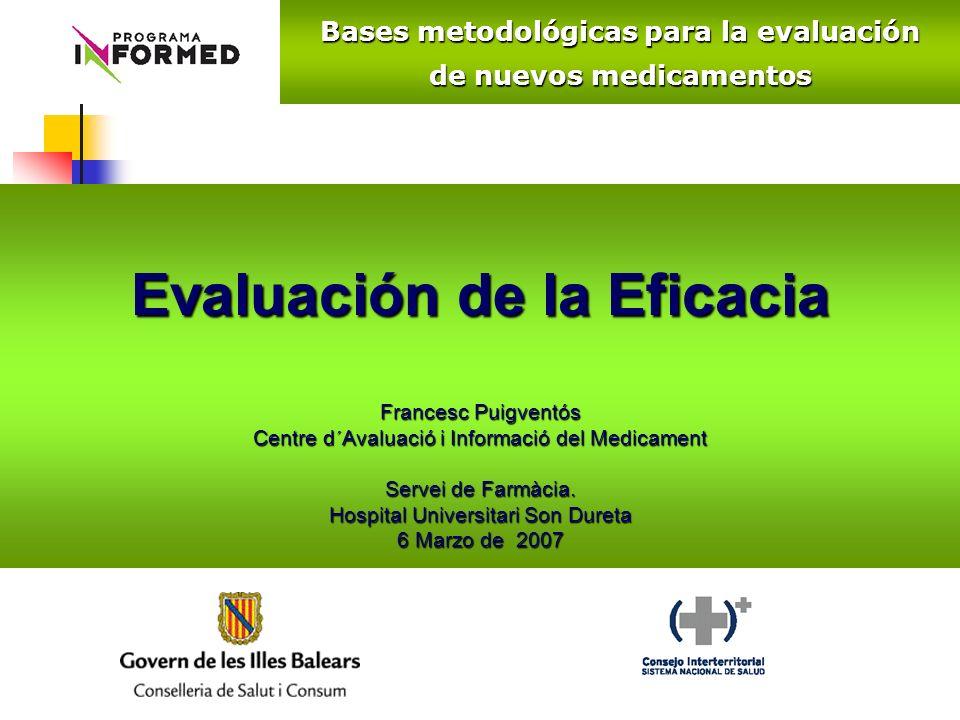 Evaluación de la Eficacia Francesc Puigventós Centre d´Avaluació i Informació del Medicament Servei de Farmàcia. Hospital Universitari Son Dureta 6 Ma