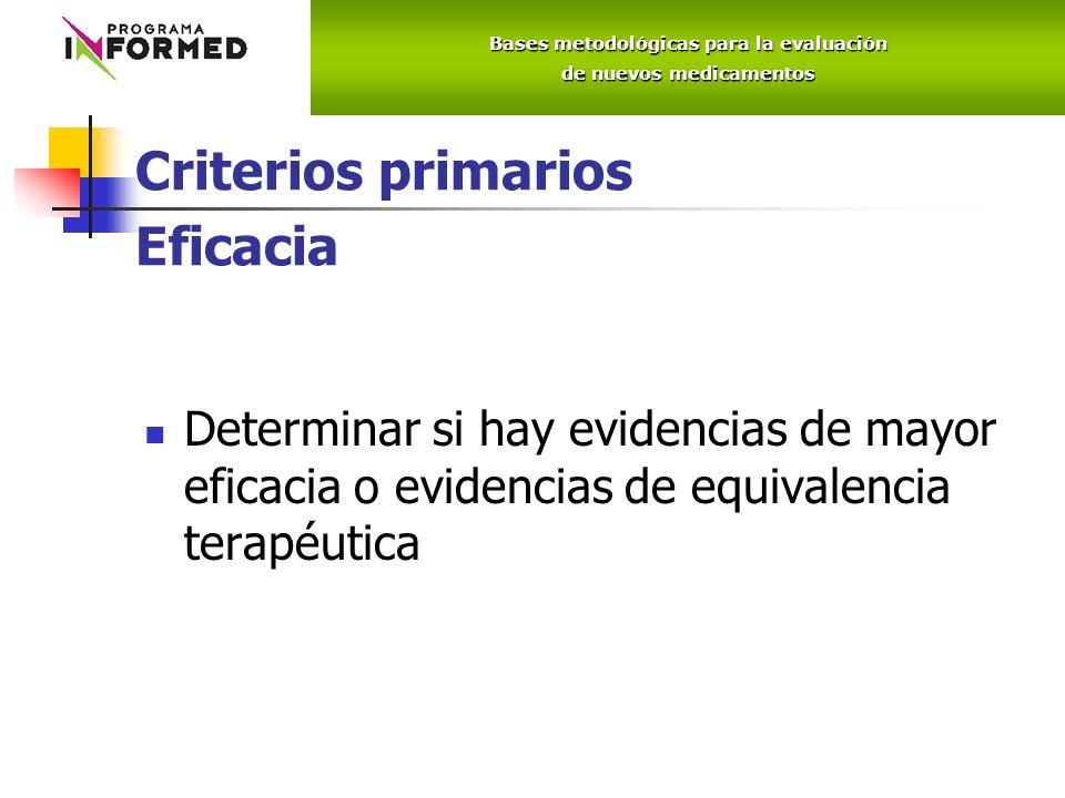 Criterios primarios Eficacia Determinar si hay evidencias de mayor eficacia o evidencias de equivalencia terapéutica Bases metodológicas para la evaluación de nuevos medicamentos