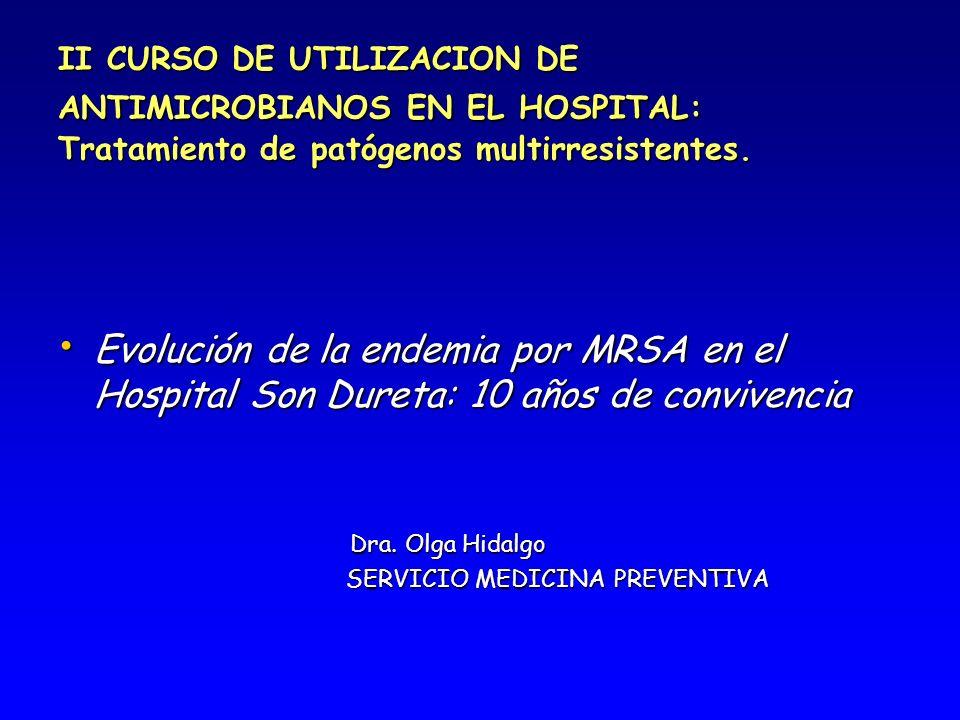 EVOLUCION ENDEMIA POR MRSA EN EL HOSPITAL SON DURETA Periodo de estudio: Periodo de estudio: Desde Junio de 1999 hasta Febrero de 2008.