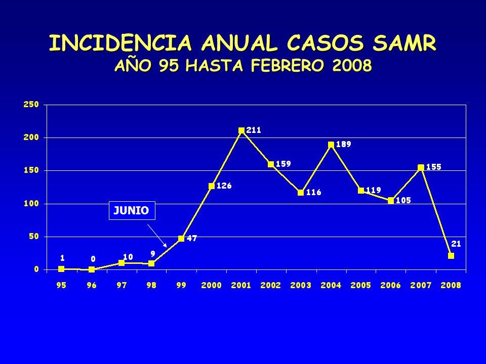 INCIDENCIA ANUAL CASOS SAMR AÑO 95 HASTA FEBRERO 2008 JUNIO