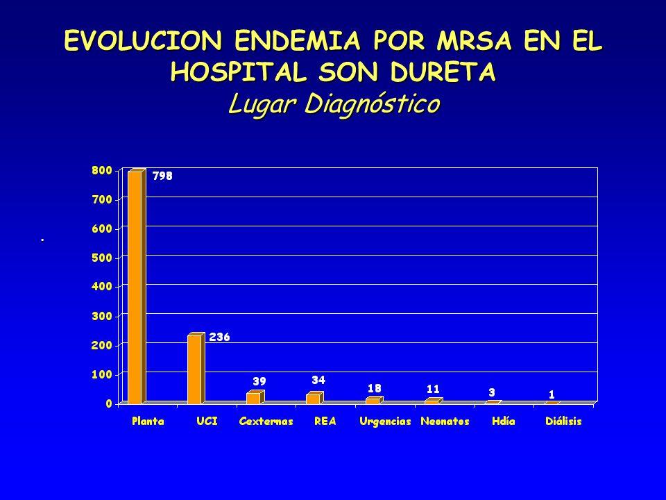 EVOLUCION ENDEMIA POR MRSA EN EL HOSPITAL SON DURETA Lugar Diagnóstico.
