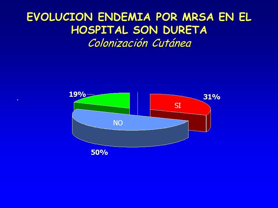 EVOLUCION ENDEMIA POR MRSA EN EL HOSPITAL SON DURETA Colonización Cutánea. NO SI