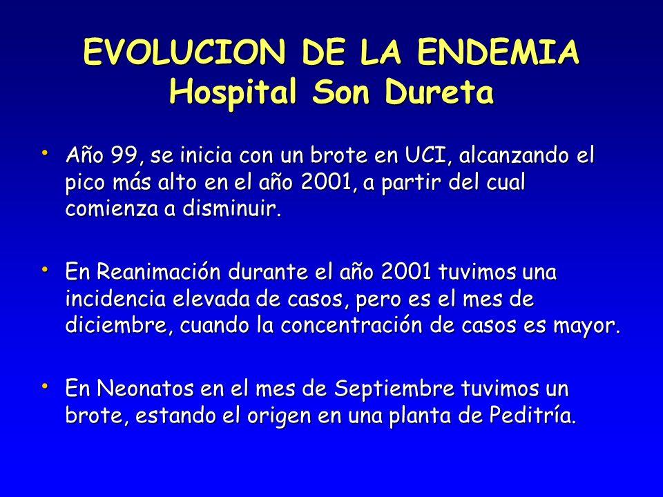 EVOLUCION DE LA ENDEMIA Hospital Son Dureta Año 99, se inicia con un brote en UCI, alcanzando el pico más alto en el año 2001, a partir del cual comie