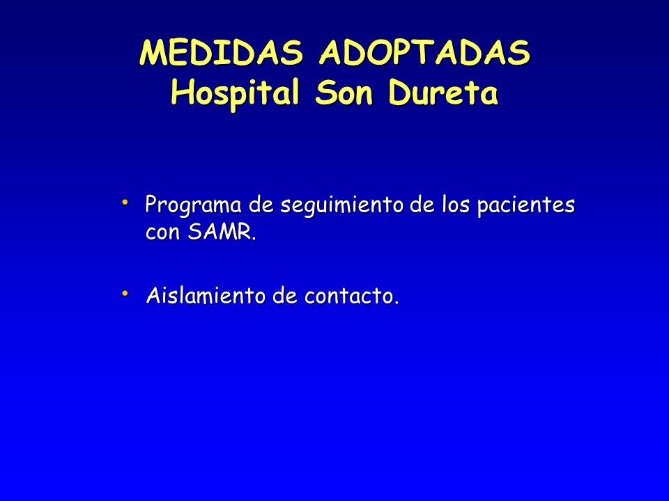 MEDIDAS ADOPTADAS Hospital Son Dureta Programa de seguimiento de los pacientes con SAMR. Programa de seguimiento de los pacientes con SAMR. Aislamient