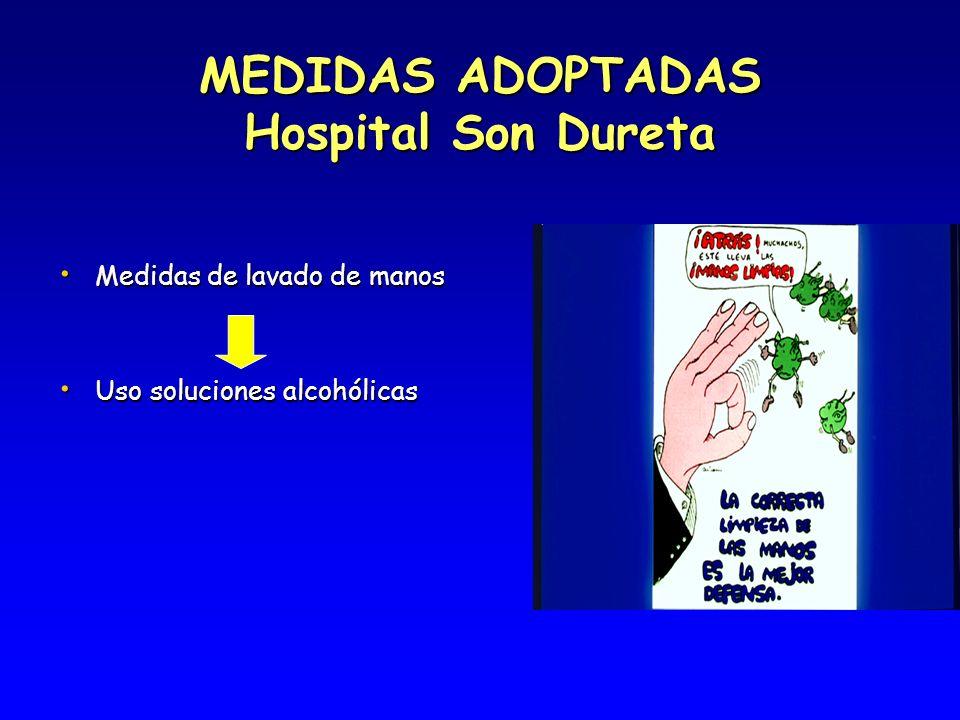 MEDIDAS ADOPTADAS Hospital Son Dureta Medidas de lavado de manos Medidas de lavado de manos Uso soluciones alcohólicas Uso soluciones alcohólicas