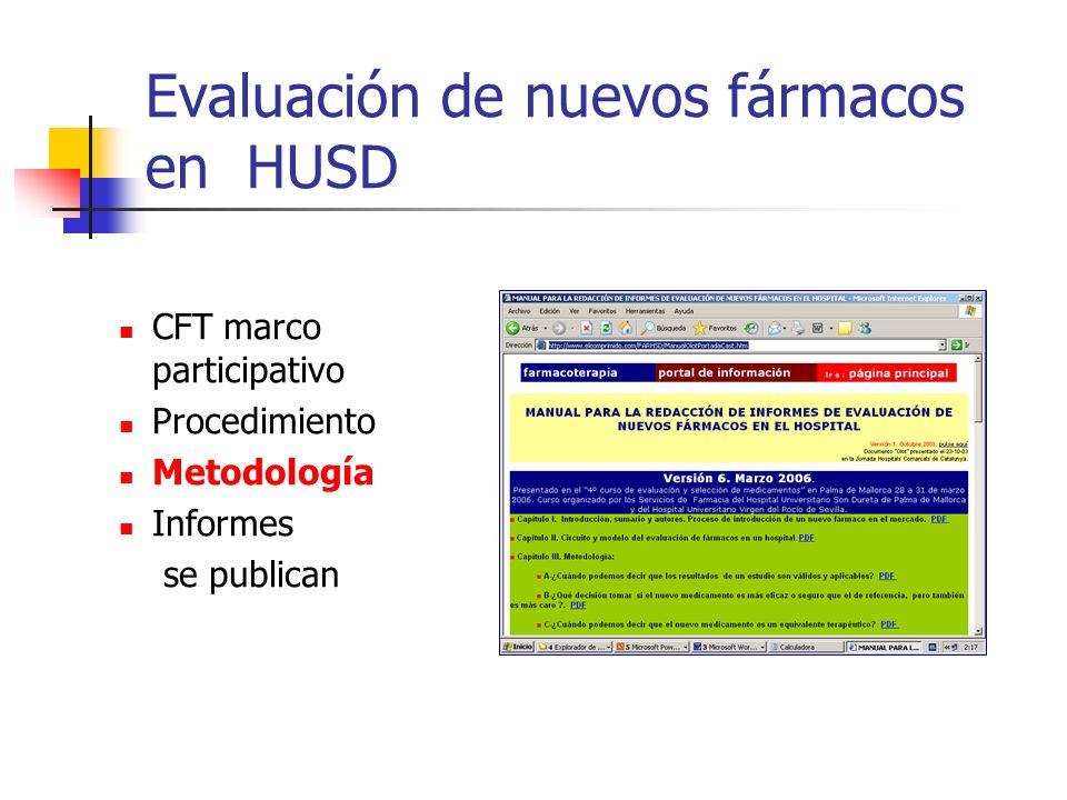 Evaluación de nuevos fármacos en HUSD CFT marco participativo Procedimiento Metodología Informes se publican