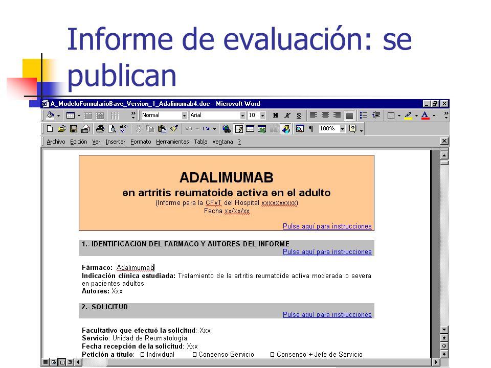 Informe de evaluación: se publican