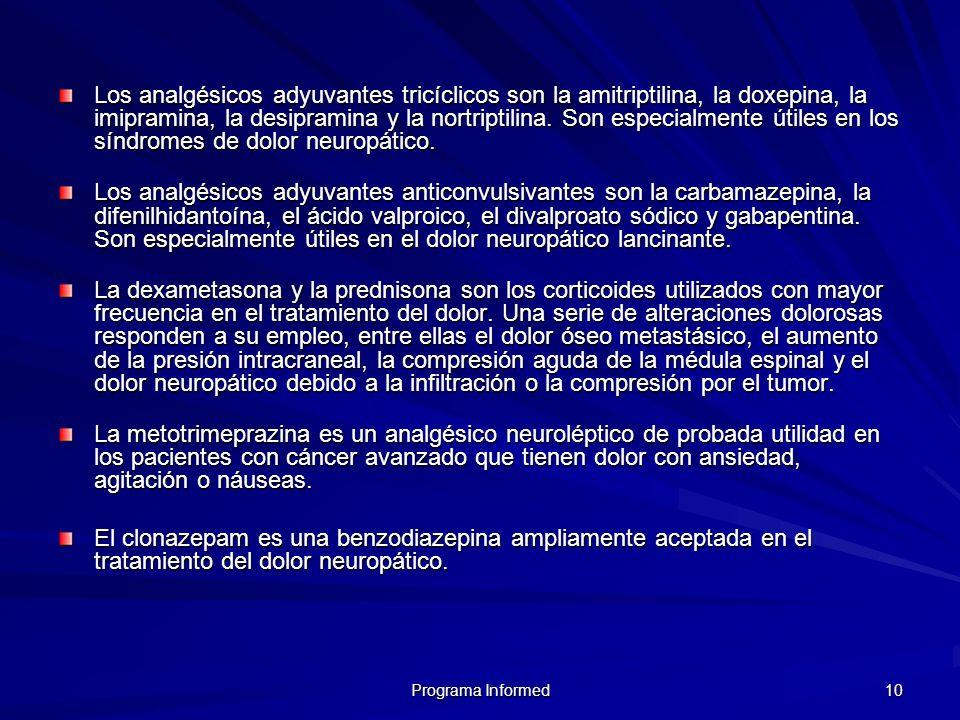 10 Los analgésicos adyuvantes tricíclicos son la amitriptilina, la doxepina, la imipramina, la desipramina y la nortriptilina. Son especialmente útile