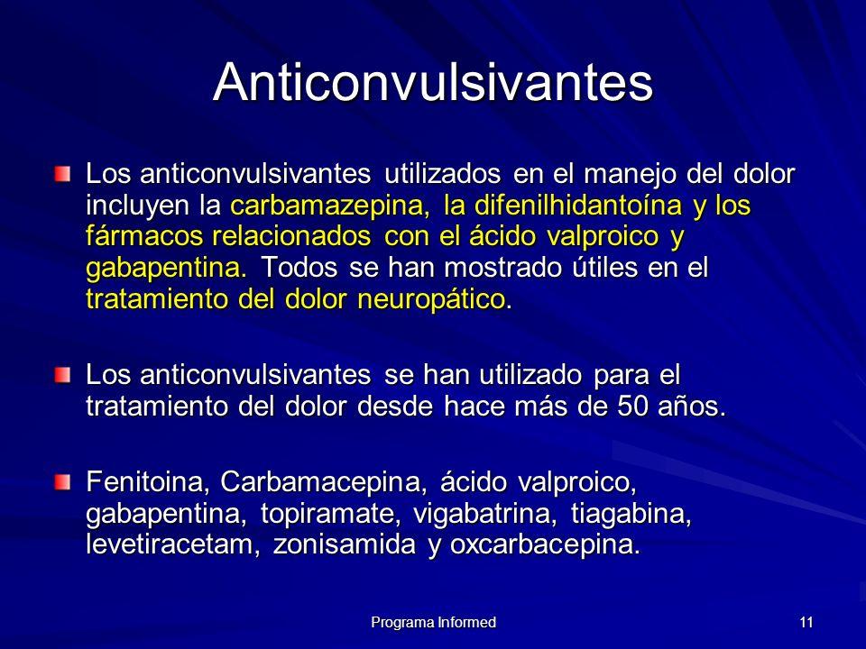 Programa Informed 11 Anticonvulsivantes Los anticonvulsivantes utilizados en el manejo del dolor incluyen la carbamazepina, la difenilhidantoína y los