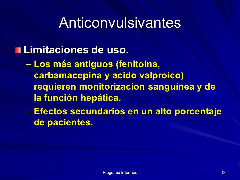 Programa Informed 12 Anticonvulsivantes Limitaciones de uso. –Los más antiguos (fenitoina, carbamacepina y acido valproico) requieren monitorizacion s