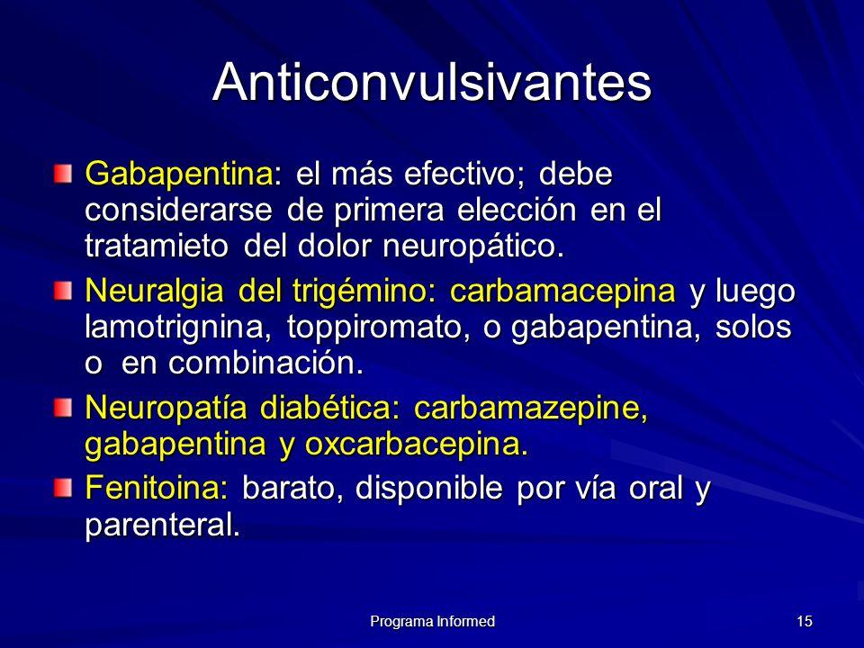 Programa Informed 15 Anticonvulsivantes Gabapentina: el más efectivo; debe considerarse de primera elección en el tratamieto del dolor neuropático. Ne
