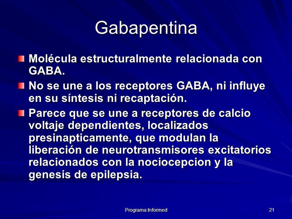 Programa Informed 21 Gabapentina Molécula estructuralmente relacionada con GABA. No se une a los receptores GABA, ni influye en su síntesis ni recapta