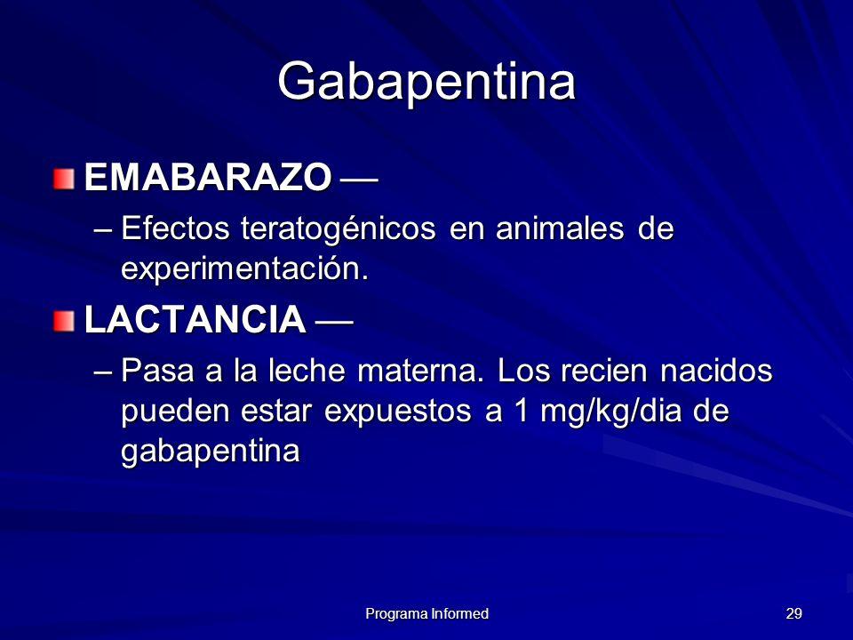 Programa Informed 29 Gabapentina EMABARAZO EMABARAZO –Efectos teratogénicos en animales de experimentación. LACTANCIA LACTANCIA –Pasa a la leche mater
