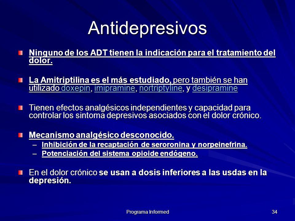 Programa Informed 34 Antidepresivos Ninguno de los ADT tienen la indicación para el tratamiento del dolor. La Amitriptilina es el más estudiado, pero