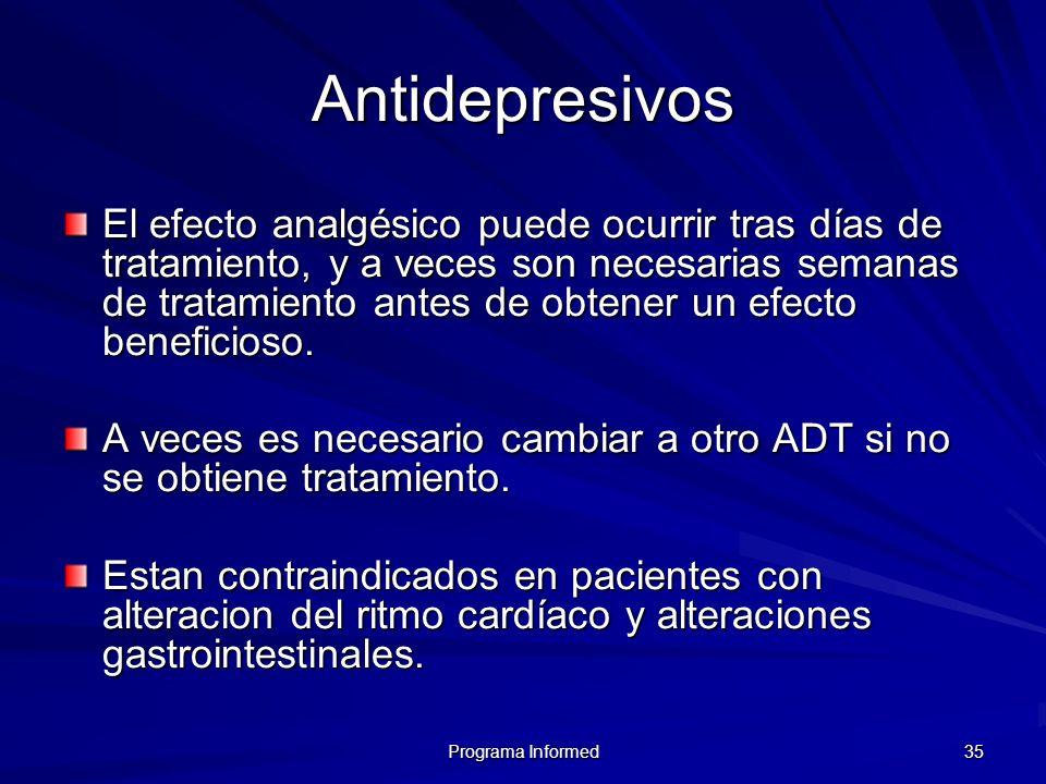 Programa Informed 35 Antidepresivos El efecto analgésico puede ocurrir tras días de tratamiento, y a veces son necesarias semanas de tratamiento antes