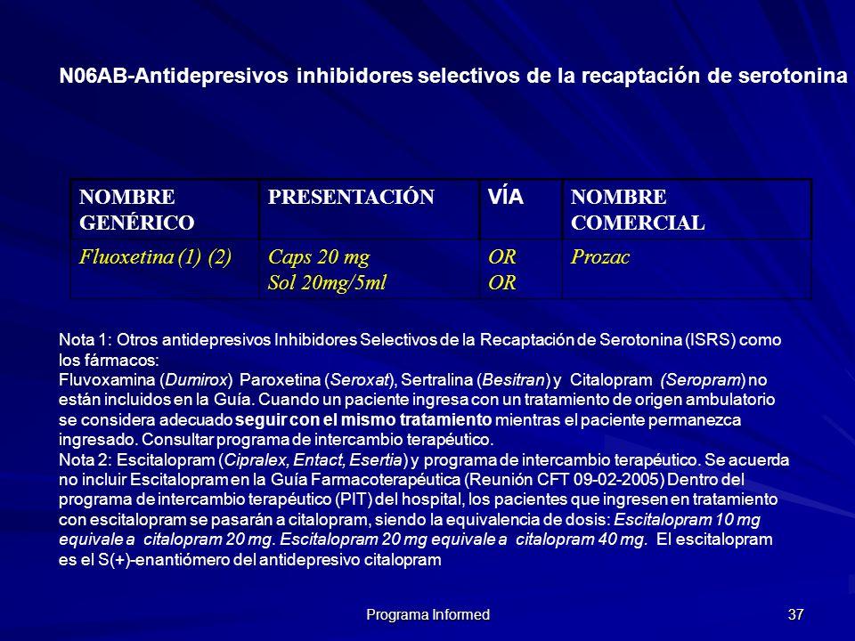 Programa Informed 37 N06AB-Antidepresivos inhibidores selectivos de la recaptación de serotonina NOMBRE GENÉRICO PRESENTACIÓN VÍA NOMBRE COMERCIAL Flu