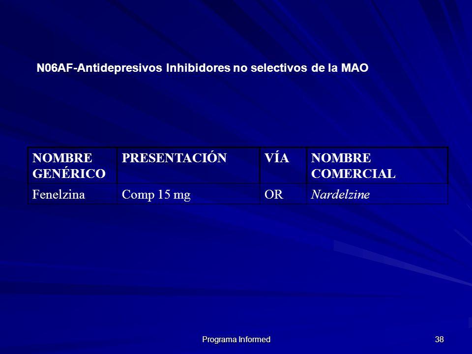 Programa Informed 38 NOMBRE GENÉRICO PRESENTACIÓNVÍANOMBRE COMERCIAL FenelzinaComp 15 mgORNardelzine N06AF-Antidepresivos Inhibidores no selectivos de