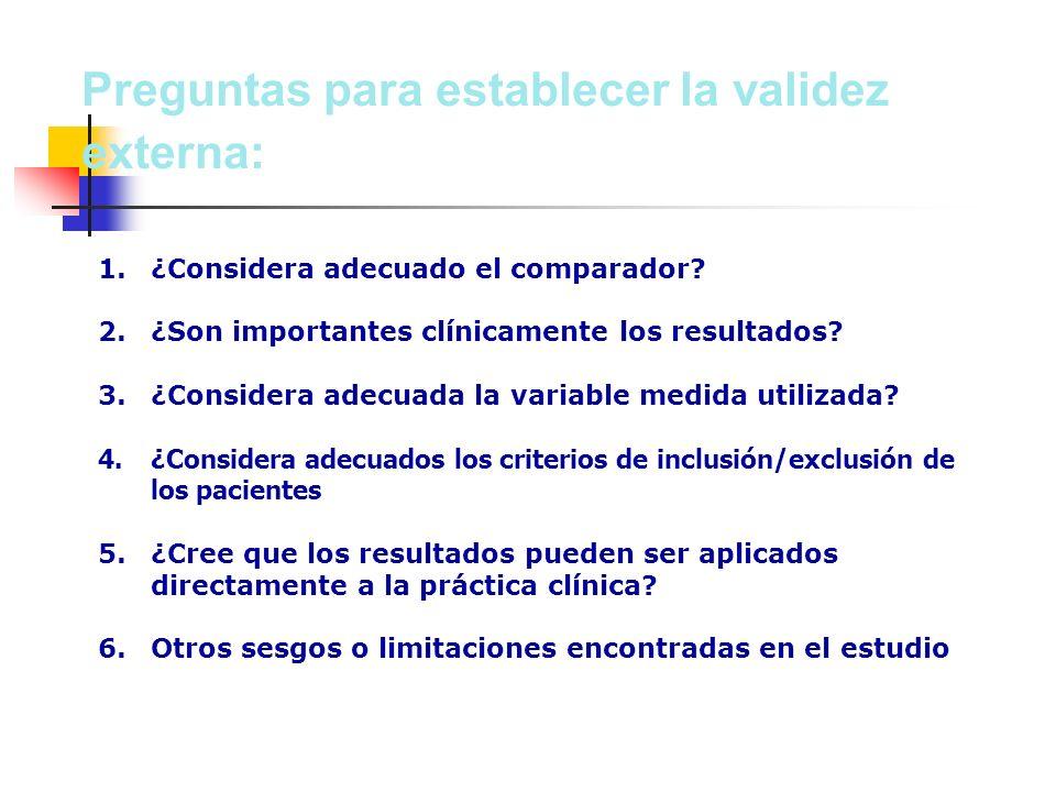 Preguntas para establecer la validez externa: 1. 1.¿Considera adecuado el comparador.