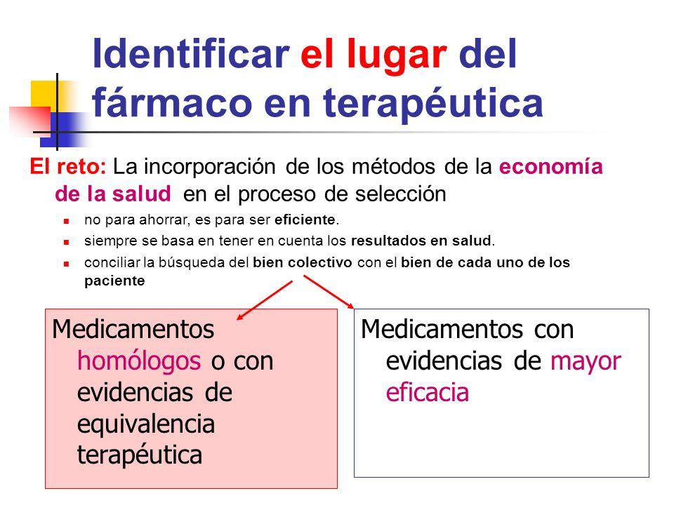 Identificar el lugar del fármaco en terapéutica Medicamentos homólogos o con evidencias de equivalencia terapéutica Medicamentos con evidencias de mayor eficacia El reto: La incorporación de los métodos de la economía de la salud en el proceso de selección no para ahorrar, es para ser eficiente.