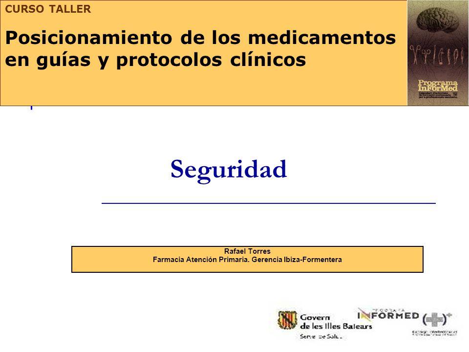 Seguridad Rafael Torres Farmacia Atención Primaria. Gerencia Ibiza-Formentera CURSO TALLER Posicionamiento de los medicamentos en guías y protocolos c