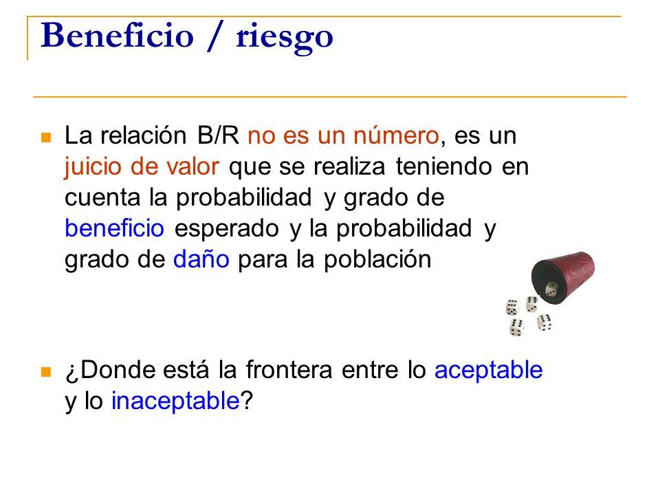 Beneficio / riesgo La relación B/R no es un número, es un juicio de valor que se realiza teniendo en cuenta la probabilidad y grado de beneficio esper
