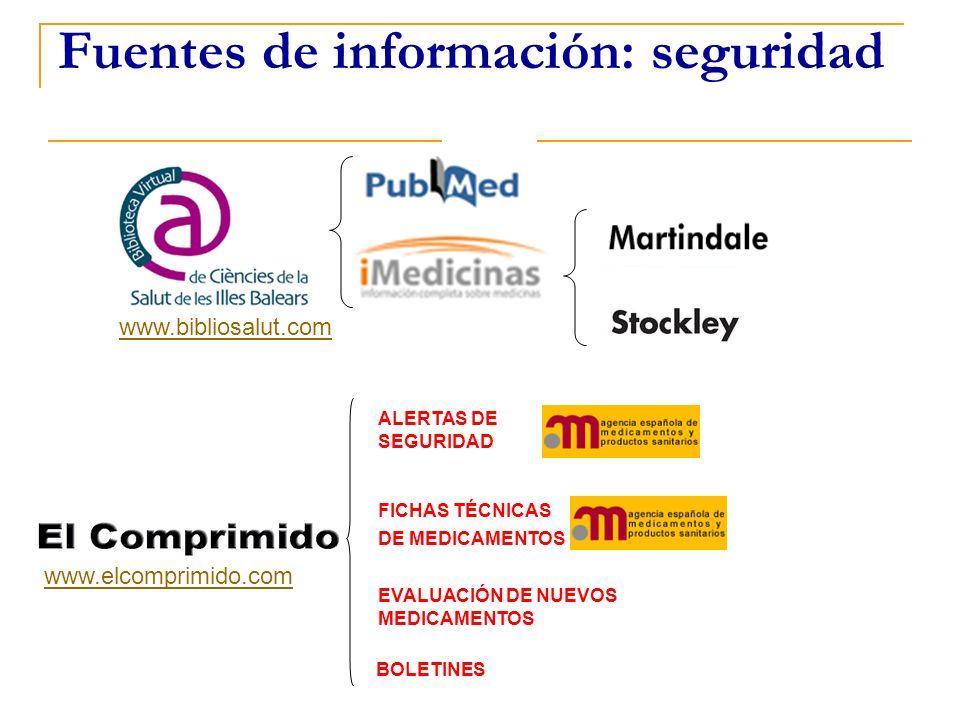 Fuentes de información: seguridad ALERTAS DE SEGURIDAD FICHAS TÉCNICAS DE MEDICAMENTOS EVALUACIÓN DE NUEVOS MEDICAMENTOS www.elcomprimido.com www.bibl